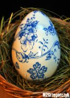 Decoupage Easter Egg Blue Porcelain Floral style by M2Grzegorczyk