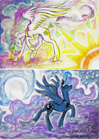 Princess Celestia and Luna Card-SAMPLE FOR SALE by Fly-Sky-High