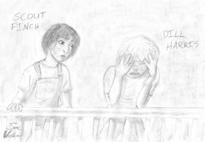 Scout and Dill - TKaM by bluesun777