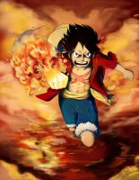 Firefist Monkey D. Luffy by SarahSoak