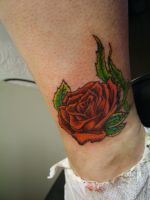 Rose Tattoo Ankle by Alcanzana