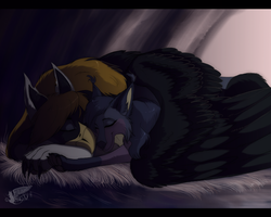 In cozy cave by Husky-Foxgryph