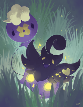 [Day 9] Pumpkaboo and Drifloon by PinkGermy