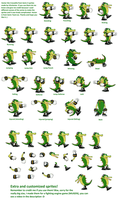 Vector the Crocodile sprites (Sonic X version) by ViluVector