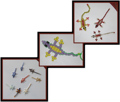Bead Lizards by ChimeraDragonfang