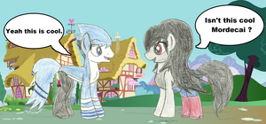 Mordecai and Marceline in ponyville by WaRrior9100