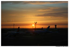 Sunrise over Newcastle Airport by N1ghtf4ll3r