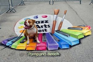 Pompano Jazz and Arts Fest with dog by AmazingStreetPaint