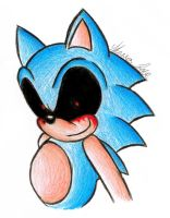 Sonic.exe in Prismacolor by srlOctober23