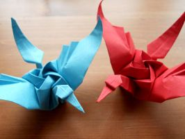 Tsuru Rose - Origami Cranes with a Rose by Fail-to-Pale
