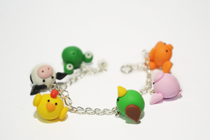 Polymer Clay Animals Charm Bracelet by Linnypig