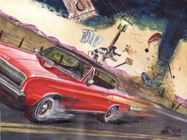 Ridin' The Storm Out (1966 Dodge Charger Painting) by FastLaneIllustration