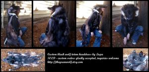Custom black wolf totem headdress by lupagreenwolf