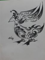 Curline Bird Drawing1 by DemonSerin