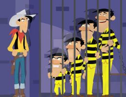 Lucky Luke and the Daltons by Mirinata
