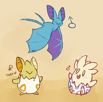 Togepi Zubat Clutch by red-anteater