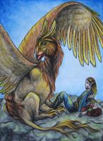 Gryphon and rider by wildelbenreiter