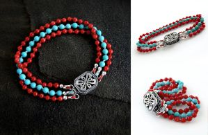 3-Strand Turquoise and Coral Bracelet by Gweyeni
