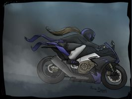 Luna with her motorcycle by Luna-Minura