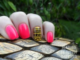Hot Pink and Yellow Tribal Accent by NailedItWithGlitter