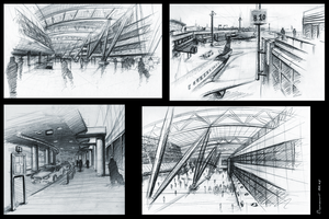Duesseldorf airport sketches by LoccoRico