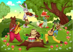 Musicians Animals in the wood. Vector illustration by neptune82