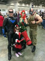 Nightwing, Harley, Poison Ivy and Bane by Cauldron03
