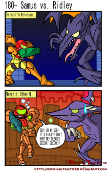 Samus vs. Ridley by BrokenTeapot