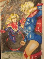 Supergirl VS Capt Marvel Risza Perdhana Colors Jer by Drakelb