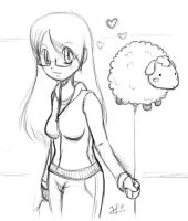 Drawing: Sheepy Love by jinnybear