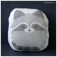 Raccoon Pillow Plushie by littlepaperforest