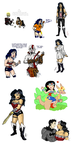 Art Dump 5- Wonder Woman Doodles by SquirrelKitty76