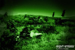 Argentine Marine Corps fighting at night by Ghostestudios
