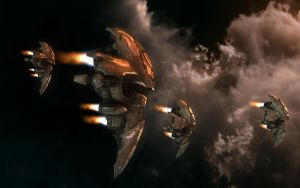 New Amarr Bomber in Flight by VanKaiser