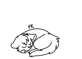 Sleeping cat lineart 3 by FKandFriends