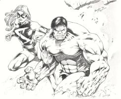Hulk and Miss Marvel by BrendanPark