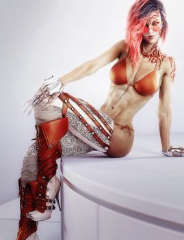 Redhead Woman in High Boots, Pin-Up 3D-Art by shibashake