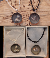 Custom Wolf and Hedgehog Bottle Cap Necklaces by DancingVulture
