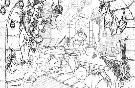 Begonia's Work Room - line art by GingerOpal