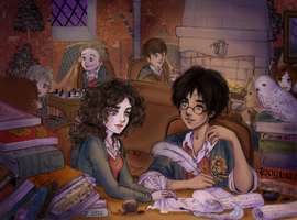 Harry and Hermione's study session by Corone88