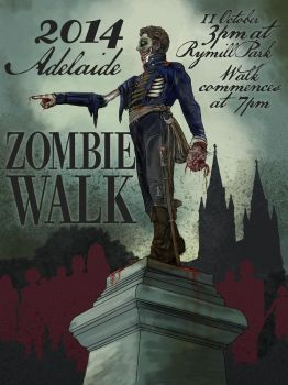 Adelaide Zombie Walk Poster by JoBeeOne