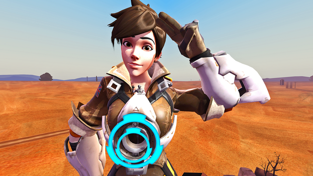 Tracer and Genji Pose by 3D-Giantess-Studios