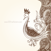 Hand Drawn Flower Design with Peacock by 123freevectors