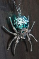 Steampunk Jewelry - Necklace - Glowing Spider by CatherinetteRings