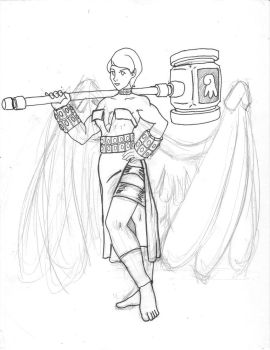 LoA Contest - Angel of Strength rough draft 2 by GoldenArms