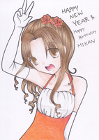 Happy New Year and Happy Birthday Mikan by NayukiMarcia