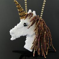 Bead loomed unicorn pendant by CatsWire