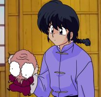 Ranma Holding a Piece of Trash (Remake) by MegaPhilX