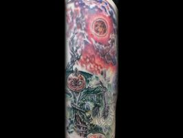 Creepy Graveyard Tattoo done by Sean Ambrose by seanspoison