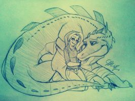 RP Sketch- Miranda and Leatherhead by Inked-Alpha